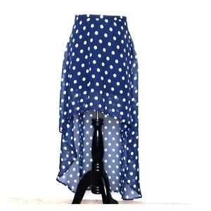 Forever 21 Blue Polka  Dots High Low Skirt Size S